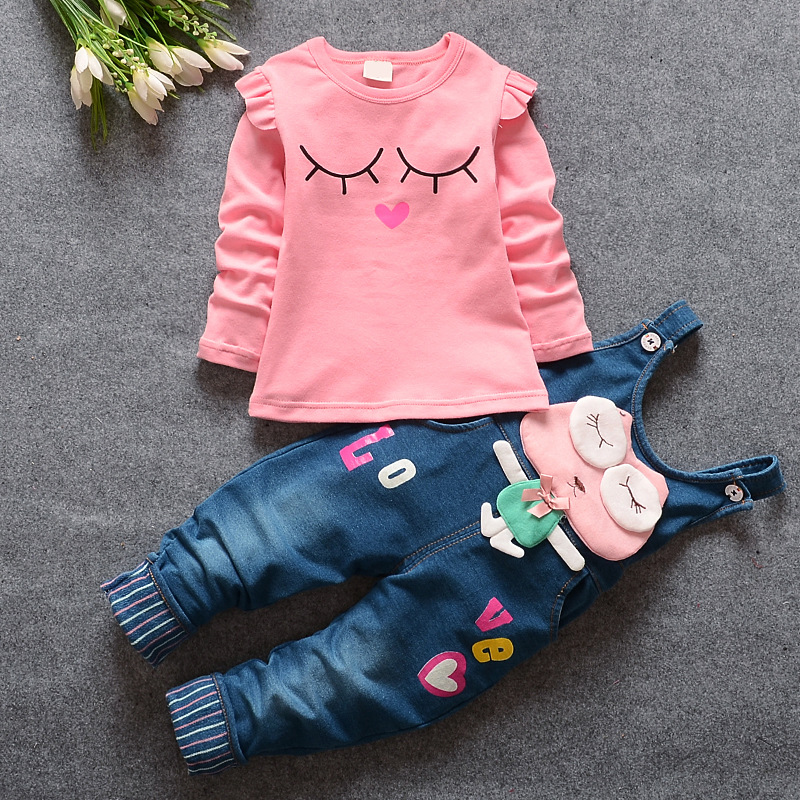 2016 new Baby Girls Letter T-Shirt Tops + Denim Jeans Rabbit Overalls Pants Two Pieces Suits Kids Clothing Sets roupas de bebe retail 2014 2pc baby girls kids rabbit tops dot denim overalls dresses outfit clothes children s clothing set suits