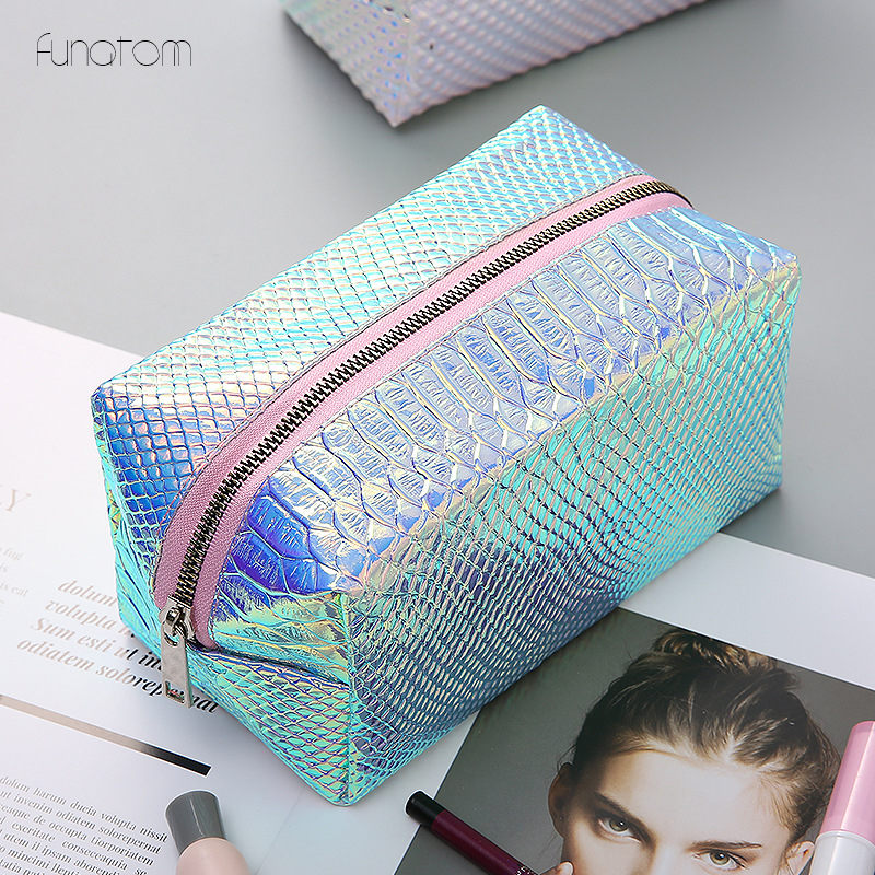 Women Fashion Cosmetic Bag Blue Laser Makeup Bag Zipper Make Up Handbag Organizer Storage Case Pouches Toiletry Wash Beauty Box