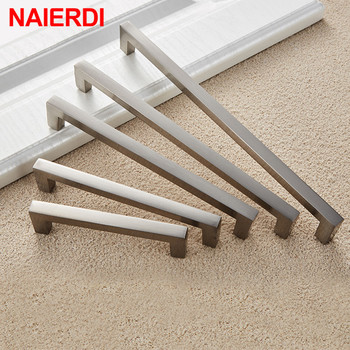 NAIERDI Aluminum Alloy Kitchen Door Handles Cabinet Handles Drawer Knobs Wardrobe Door Handles Brushed Modern Style Hardware modern brushed aluminum install address signs
