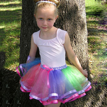 2016 Baby Girls Skirts Rainbow Tutu Skirt  Fluffy Chiffon Pettiskirts Tollder Girls Kids Tutu Party Dance Wear Ballet Skirt
