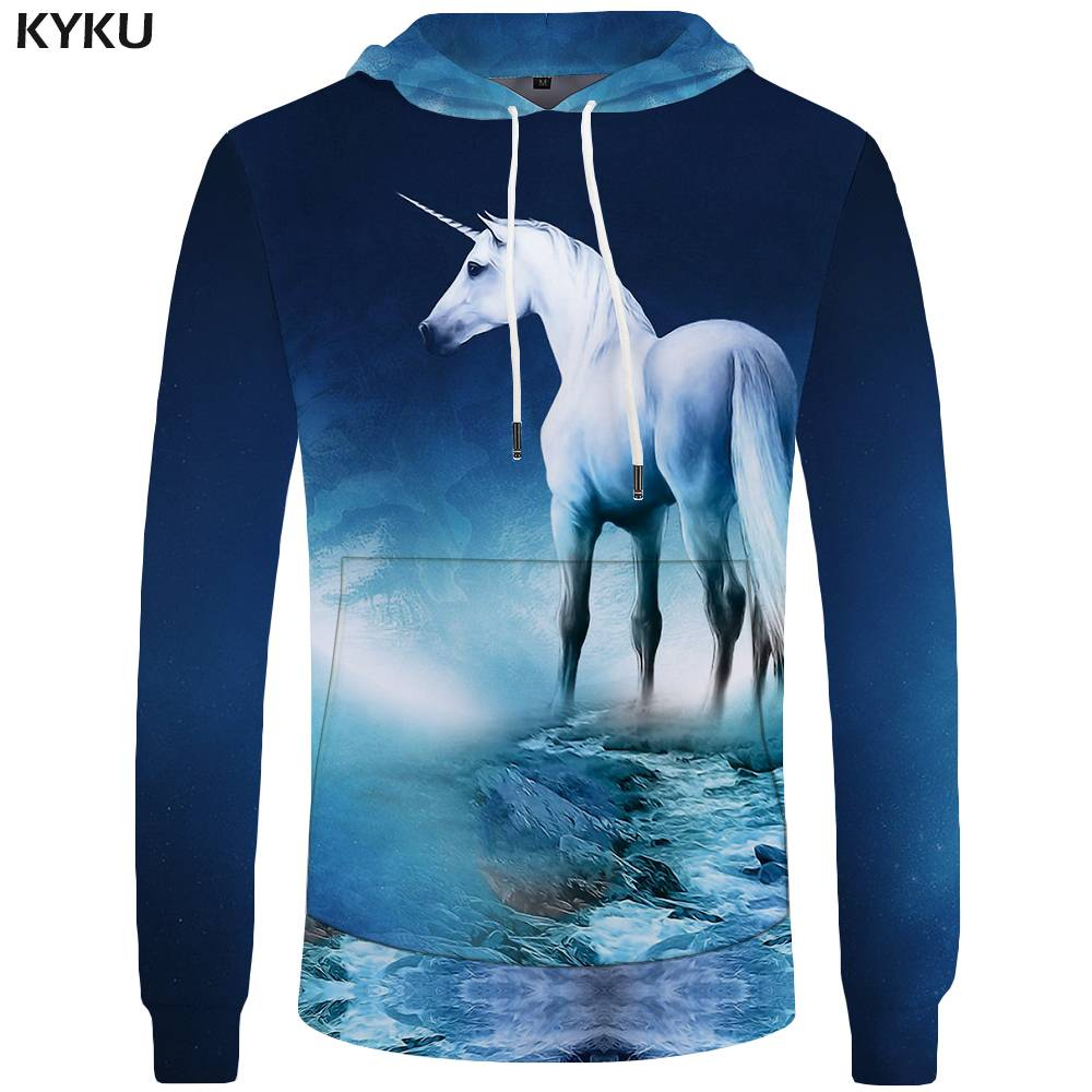 KYKU Unicorn Hoodies Men River Sweatshirts Space Pocket Big Size Sweatshirt 3d Hoodies Hoddie Tracksuit New Casual Male