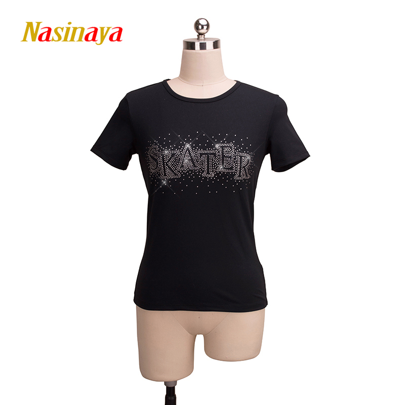 Customized Figure Skating T shirt Tops for Girl Women Training Competition Patinaje Ice Skating Gymnastics short sleeve 3