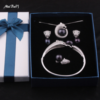 Yinfeng 925 Sterling Silver 4 Items Pearl Leopard Sets 100 Real Natural Pearl Jewelry Set