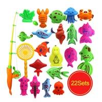 CCINEE 22PCs Set Magnetic Fishing Toy Game Kids 1 Fishing Rod 1 Net 20 3D Fish