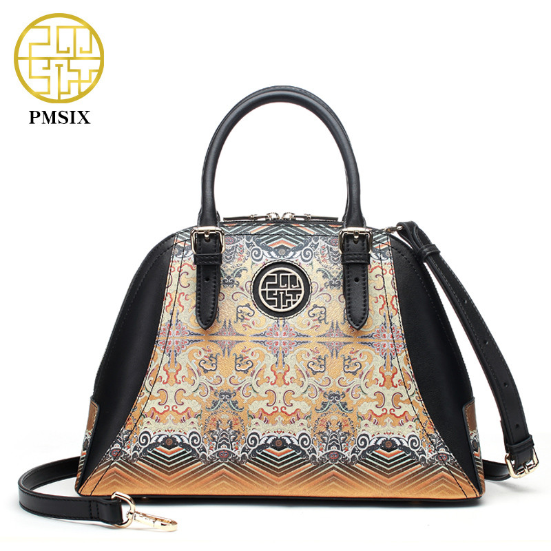 PMSIX Chinese Style Shell Bag Leather Handbag Golden Printing Women Crossbody Shoulder Bag Fashion Designer Tote Bag P120090 2017 pmsix new chinese style fashion shoulder bag elegant lady handbag leather printing embroidery female bag casual woman bag
