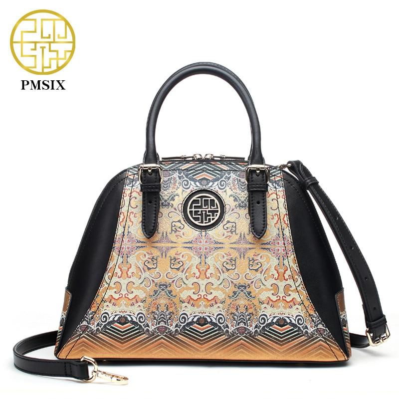 PMSIX bolso de cuero de estilo chino bolso de cuero de impresión dorada bolso de hombro de mujer bolso de mano de diseñador de moda P120090-in Cubos from Maletas y bolsas    1