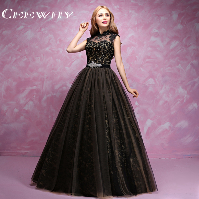 Puffy Black Lace Quinceanera Dresses Tulle Masquerade Sweet 16 ...