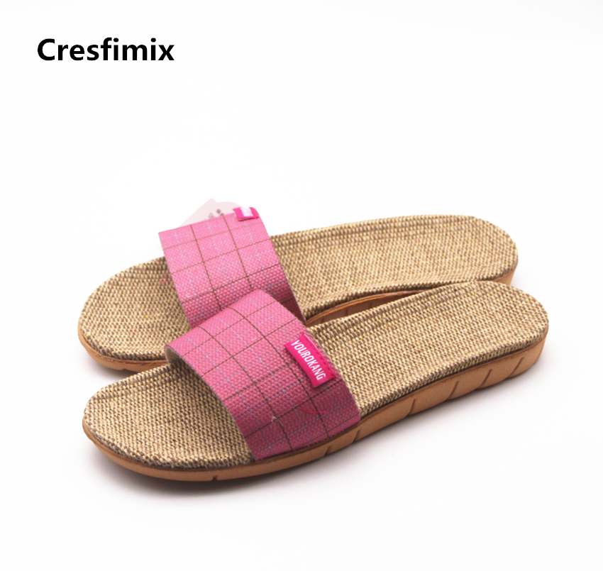 Cresfimix women fashion high quality comfortable slippers lady casual pink beach slip on slippers female leisure soft slippers cresfimix women fashion
