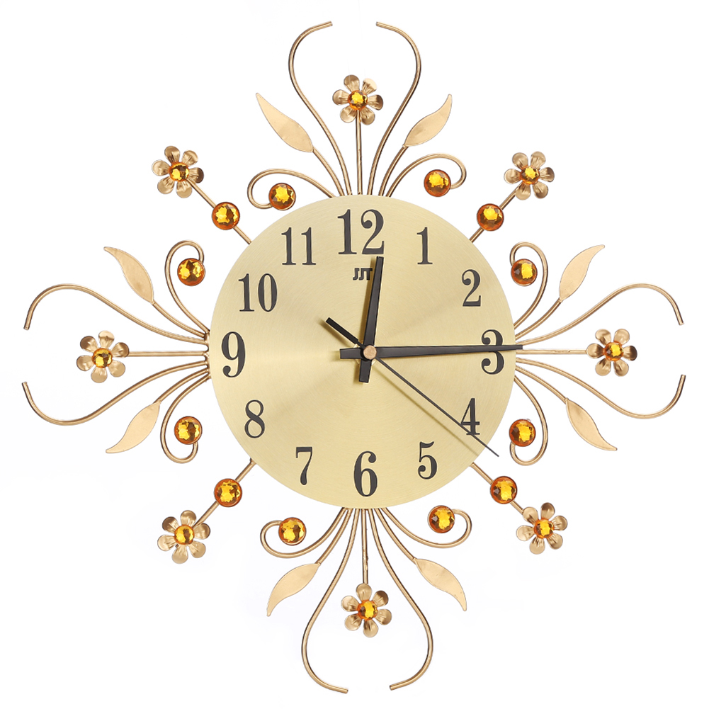 2 Style Vintage Metal Art Wall Clock Luxury Diamond Large Wall Watch ...