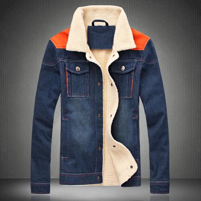 2016 Nova Real de Curto Jaqueta Jeans Amassado Sólida Parkas Grossas de Inverno Masculino Térmica de Algodão-acolchoado Espessamento Outerwear Plus Size
