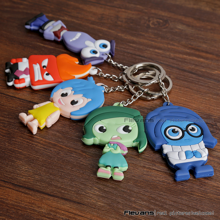 Inside Out PVC Figures Toys with keychain 5pcs/set goki wooden traditional toys clock bears mini bead frames floating ball press and shake figures top with pull out string