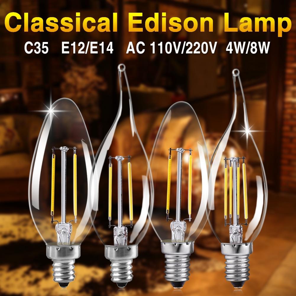 LED Candle Bulb E14 Vintage C35 Filament Light Bulb E27 LED Edison Globe Lamp 220V A60 Glass 8W 16W Replace Incandescent