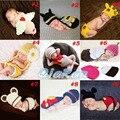 2016 Moda Boy Girl Beanie Traje Adereços Fotografia Crochê Bebê Chapéus witn Calções Define 0-12 Meses