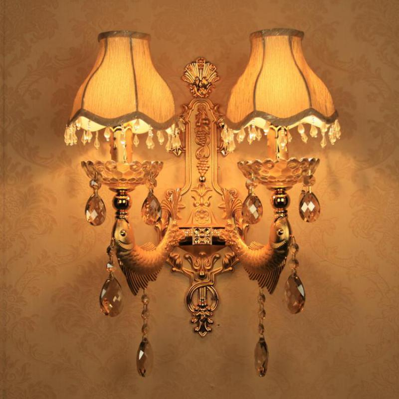 Balcony Wall Sconce Living Room Large Gold Fish Wall Lamp With Fabric Shade  Garden Indoor Wall Light Fixtures Porch Mirror Lamps