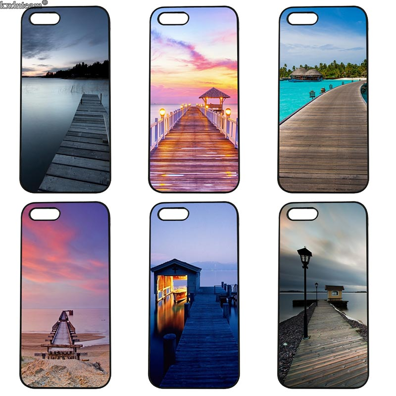 Mobile Phone Case Lake Wharf View Hard Anti-knock Cover Fitted for iphone 8 7 6 6S Plus X 5S 5C 5 SE 4 4S iPod Touch 4 5 6 Shell