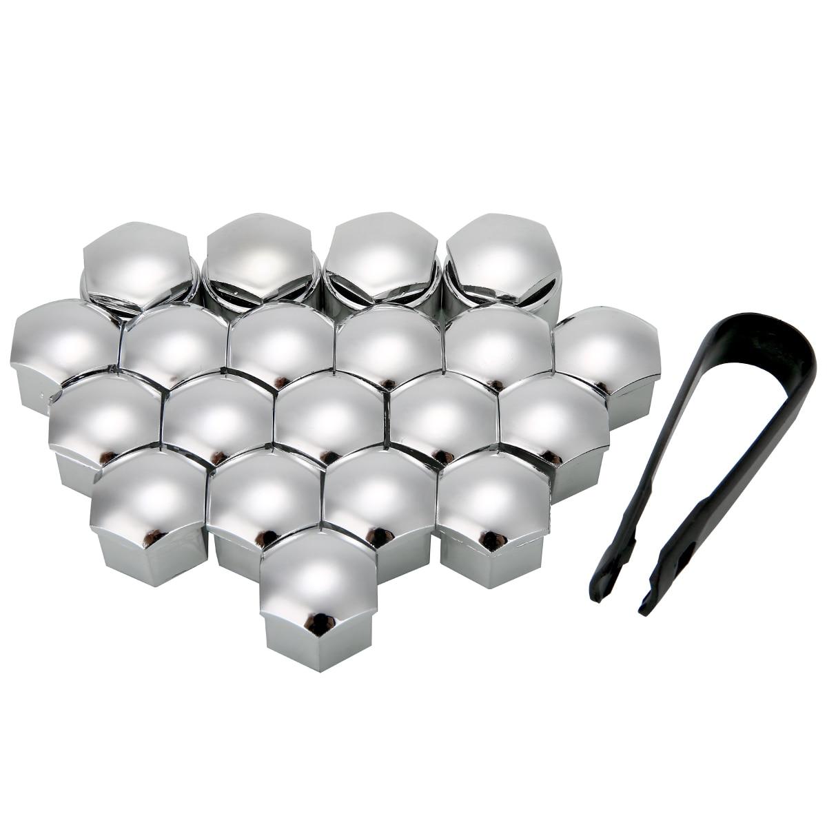 Chrome Silver DIYI 20 Pcs Car Wheel Bolt Nut Head Cap Covers 17mm Hexagonal Protectors