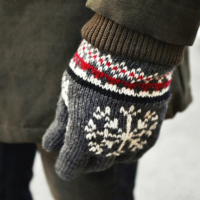 The New Thick Velvet Warm Winter Snowflake Pattern Knit Gloves