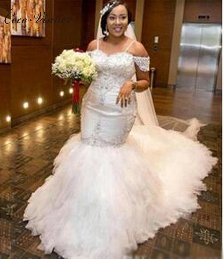 C.V African Sequin Lace Vintage Mermaid Wedding Dresses 2019 Long train  Puff Skirt Crystal Beads Plus Size Bridal Gowns W0215-in Wedding Dresses  from ... ce6cb233e798