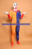 Custom Made Wholesale Yellow And Blue Clown Design Unisex Lycra Spandex Zentai Suit Halloween Cosplay Costume Christmas Gift