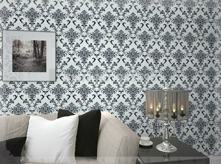 Aliexpress Com Buy Pvc Glitter Black Silver Damask Wallpaper Background Wall Bedroom Wallpaper For Living Room Wall Papers Home Decor Wallpaper New From