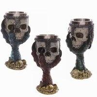 3D Schedel Serie Goblet Cup Dubbele Skeleton Whiskey Cup gepersonaliseerde kiel schedel metalen wijnglas Mooie Gift