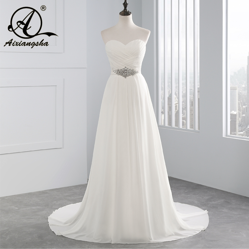2018 venda quente a linha chiffon vestidos de noiva beading vestido de noiva muito barato de cristal robe de mariage com pregas