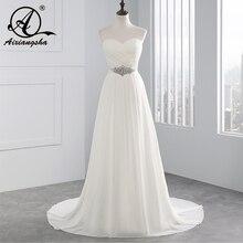 2018 Hot Selling A Line chiffon Wedding Dresses Beading Vestido de Noiva Long cheap crystal Robe