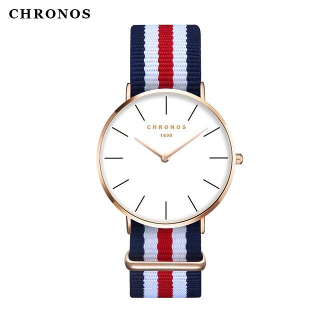 CHRONOS1898 Men Women Fashion Nylon Band Watches Ultra Thin Lightweight Watch Fa