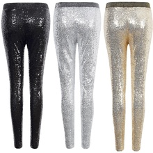 e2a222bdccdf0c Sexy Shiny Sequin Leggings Women Female Fashion Skinny Stretch Slim  Paillette Pencil Pants Hot party hose