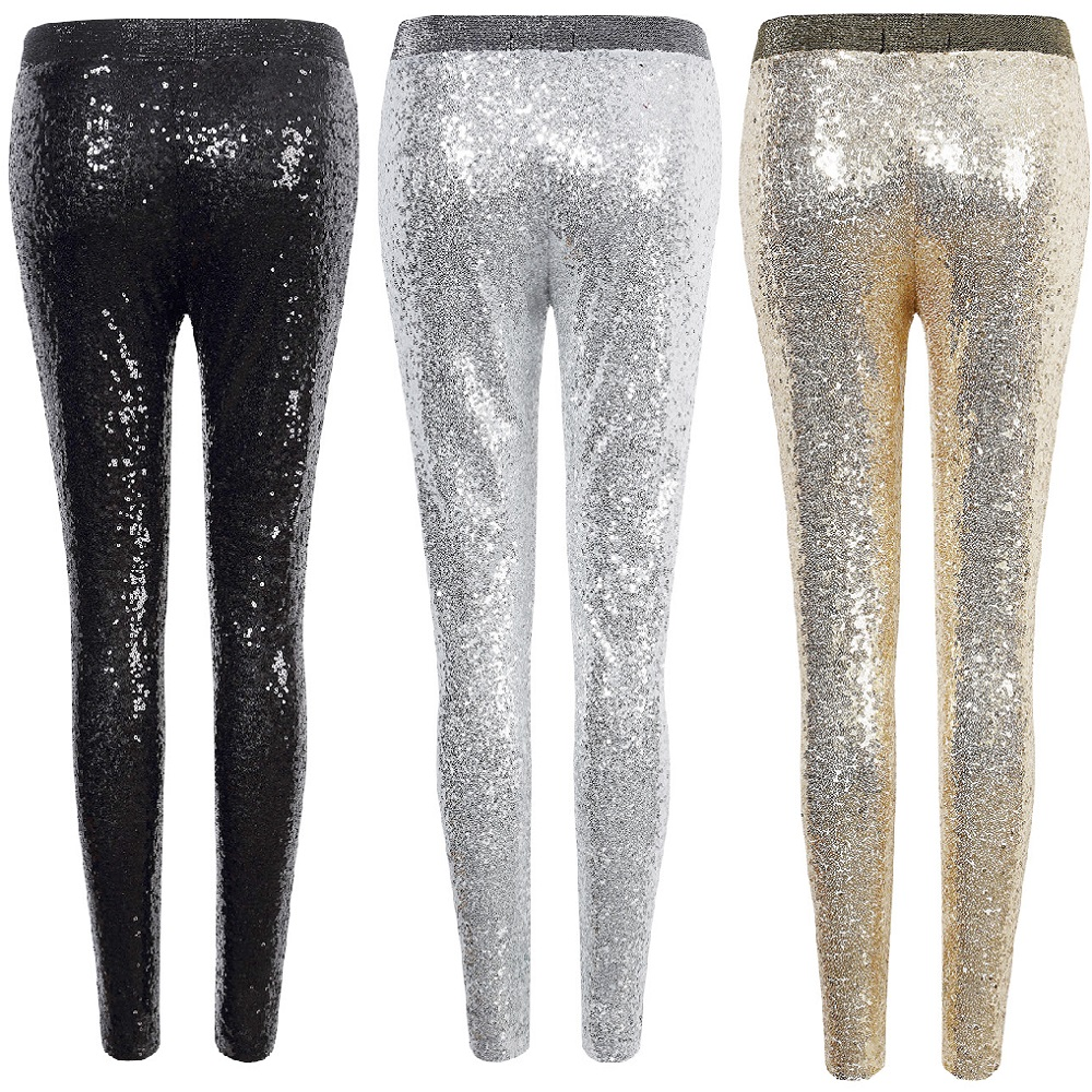 Sexy Shiny Sequin   Leggings   Women Female Fashion Skinny Stretch Slim Paillette Pencil Pants Hot party hose Elasticity   Legging