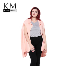 Kissmilk Plus Size 2017 Autumn Longline Blazer Solid Champagne Split Sleeve None Breasted Coat Loose  Blazer Large Size 3XL 6XL