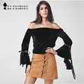 2017 Women Casual Style Loose Slash Neck Collar Long Butterfly Sleeves Sexy Tops T-shirt size S-2XL T718379Y