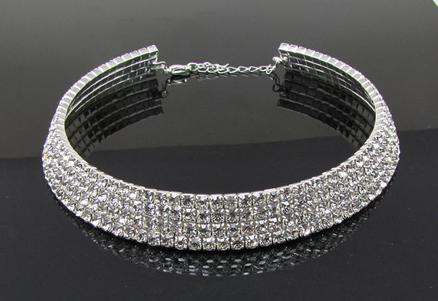 product Wedding Bridal Jewelry 1 2 3 4 5 Row Rhinestone Crystal Choker Silver Plated & Gold Plated Necklace