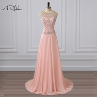 ADLN Heavily Beaded Long Evening Dresses Sexy Illusion Back Chiffon Special Occasion Gown Vestidos De Festa