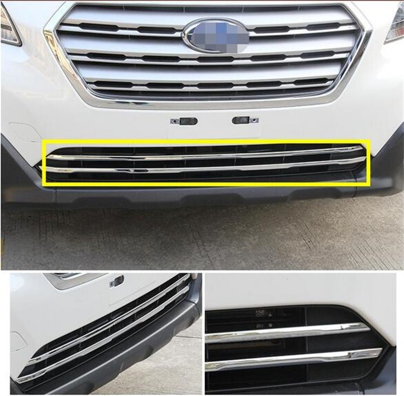 Abaiwai ABS Chrome Front Grille Grill Cover Trim For Subaru Outback 2014 2015 2016 2017 Car Styling Accessories 2pcs/set car styling side body trim decoration trim for subaru xv 2012 2013 2014 2015 abs chrome 4pcs per set