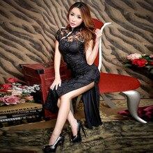 Купить с кэшбэком 2018 Lace Sexy Cheongsam Long Black Qipao Dress Chinese Traditional Party Dresses Vestido Robe Oriental Chinoise Qi Pao