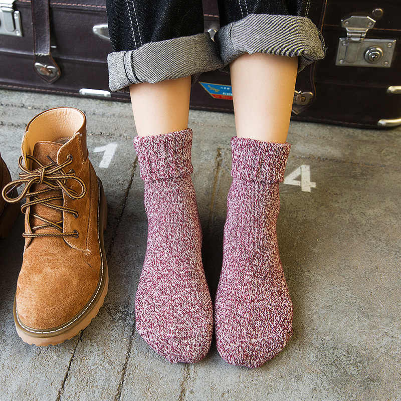 Hot Sale !5 pairs Fashion Spring autumn winter Warm Women Solid Color Short  Sock suit wild Rabbit Wool ladies Cute socks