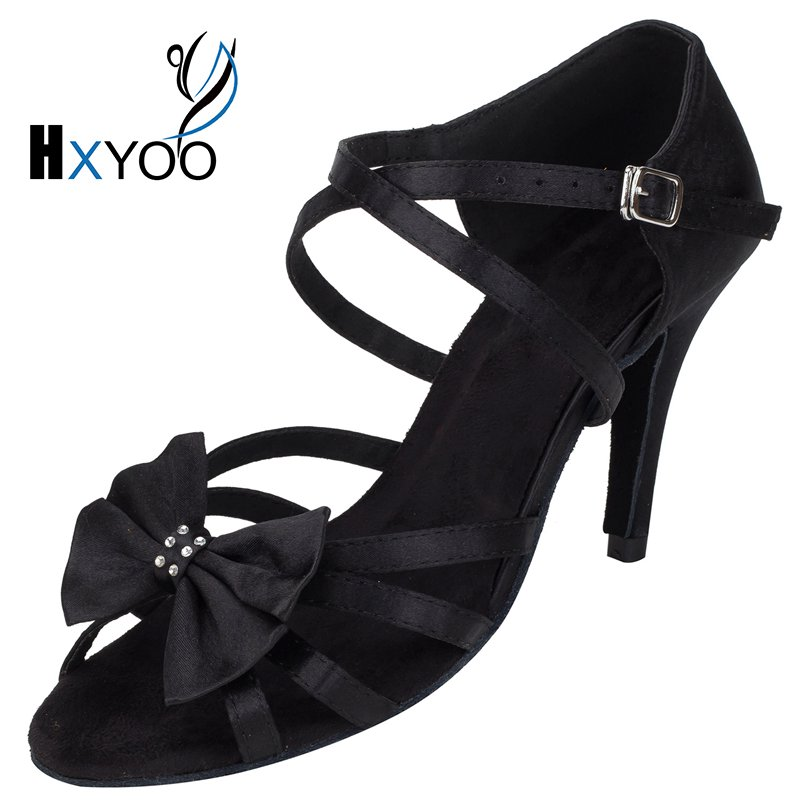 HXYOO 2017 New Arrived Satin Latin font b Dance b font Shoes Women Salsa Ballroom Shoes
