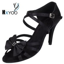 HXYOO 2017 New Arrived Satin Latin Dance Shoes Women Salsa Ballroom Shoes Tango Black Gold Silver Soft Sole Professional WK030