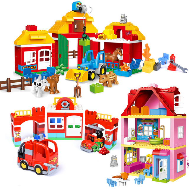 Blocos de construção de tijolos, compatível com duploed, casa para família, blocos de construção, diy, brinquedo de tijolos para crianças