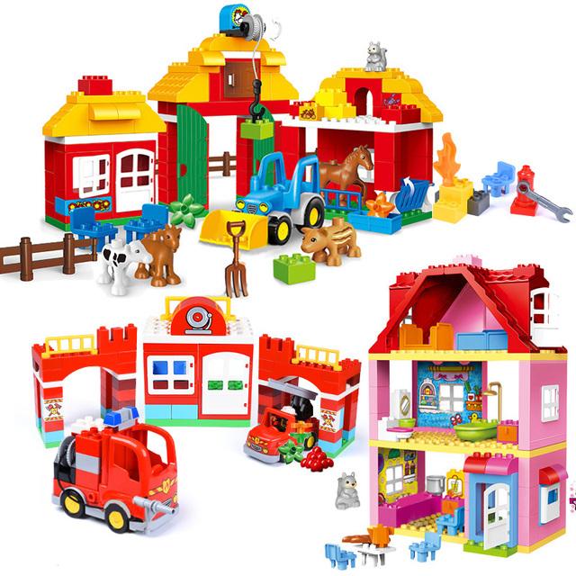 Classic Princess Big Size Compatible Duploed Building Block Family House Construction Building Blocks DIY Brick Toy For Children