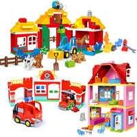 Dziewczyna księżniczka duże rozmiary bloki zestawy kompatybilne LegoINGlys Duploed dom rodzinny cegły klocki klocki dla dzieci