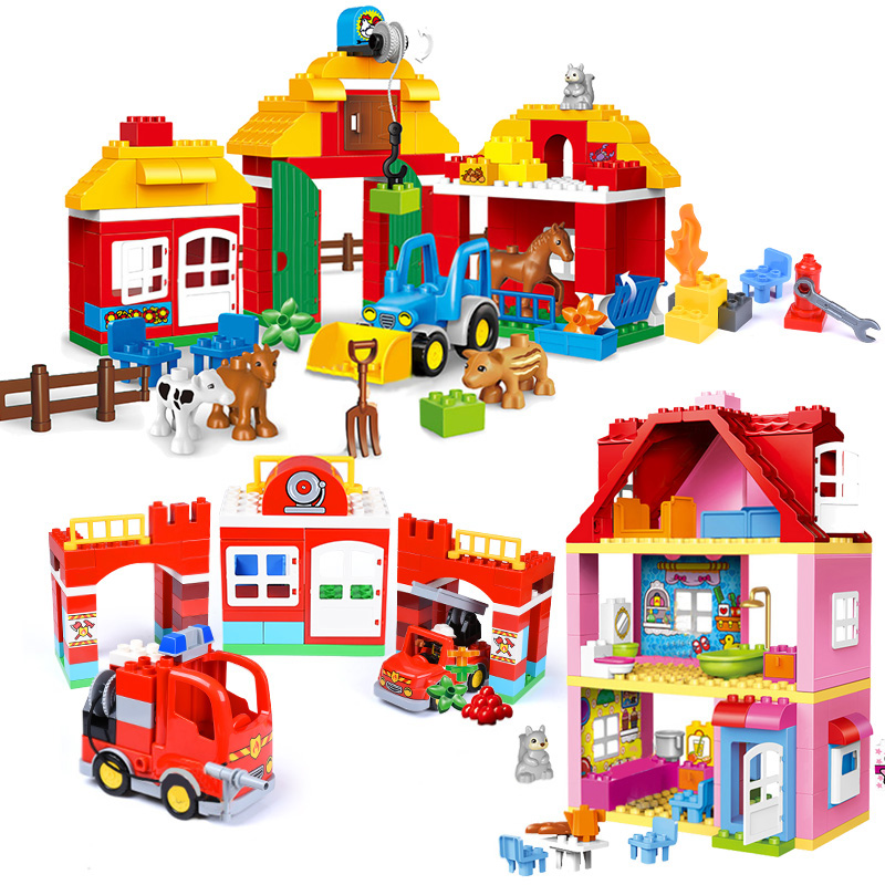 Girl Princess Large Size Blocks Sets Compatible LegoINGlys Duploed Family House Bricks Bricks Building Blocks Toys For Children