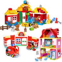 Juegos de bloques de tamaño grande de princesa niña Compatible LegoINGlys Duploed casa familiar ladrillos bloques de construcción juguetes para niños