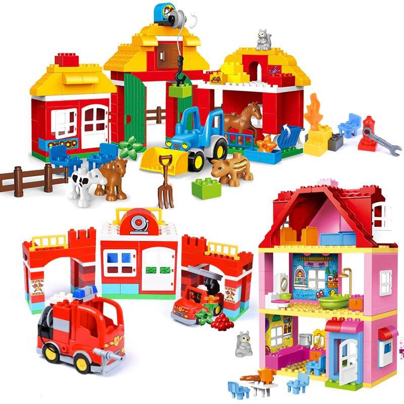 Menina Princesa Grandes Conjuntos de Blocos de Tamanho Compatível LegoINGlys Duploed Família Casa de Tijolos tijolos Blocos de Construção de Brinquedos Para Crianças