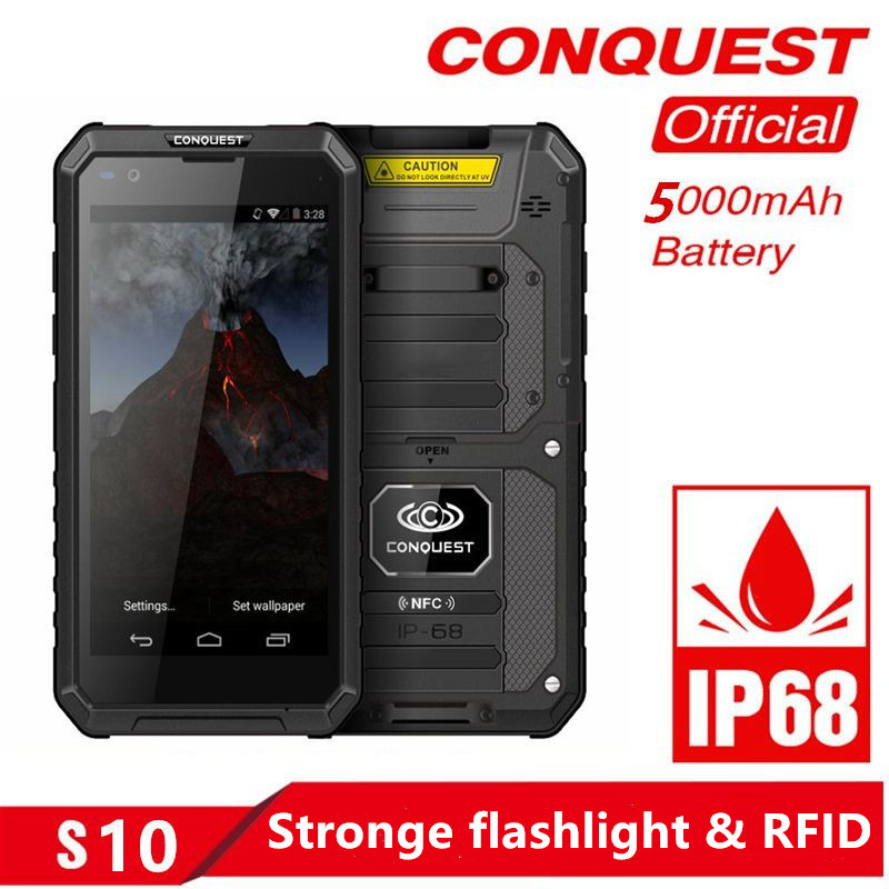 CONQUEST S10 IP68 Walkie Talkie Rugged Phone Add Strong Flashlight Bar QR Code RFID NFC and IoT Intelligent Handheld Smartphone in Cellphones from Cellphones Telecommunications