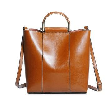 Real Genuine Leather Women Crossbody Ring Top Handle Bags Oil Wax Cowhide Female Shoulder Tote Handbag Purses New Fashion 2018