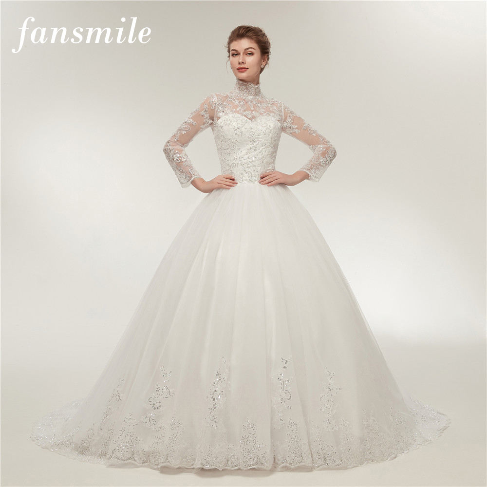 2018 Fashion Simple Beige Wedding Dresses Full Sleeve: Aliexpress.com : Buy Fansmile Real Photo Simple Vintage
