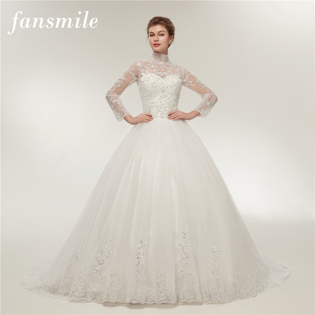 Fansmile Real Photo Simple Vintage Lace Wedding Dress Long Sleeve ...