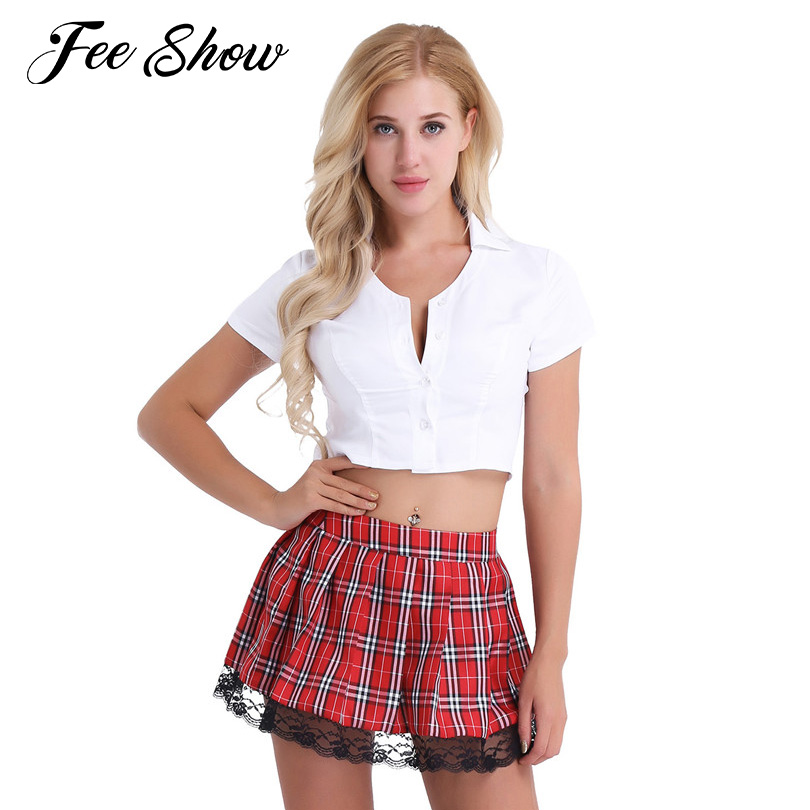 Sexy Womens Lingerie School Girl Cosplay Costume Uniform for Night Club Short Sleeves Deep V Crop Top with Plaid Mini Skirt Sets